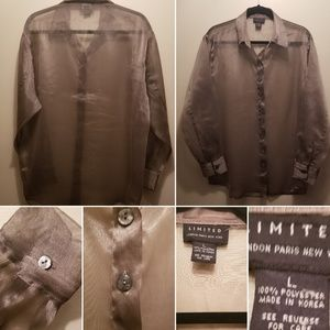 Limited Gray Sheer Long Sleeve Button Down